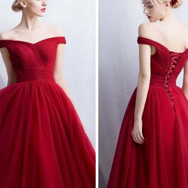 Red Silk Prom Dress Ceremony Dress 2017 Boat Neck Evening Dresses ...
