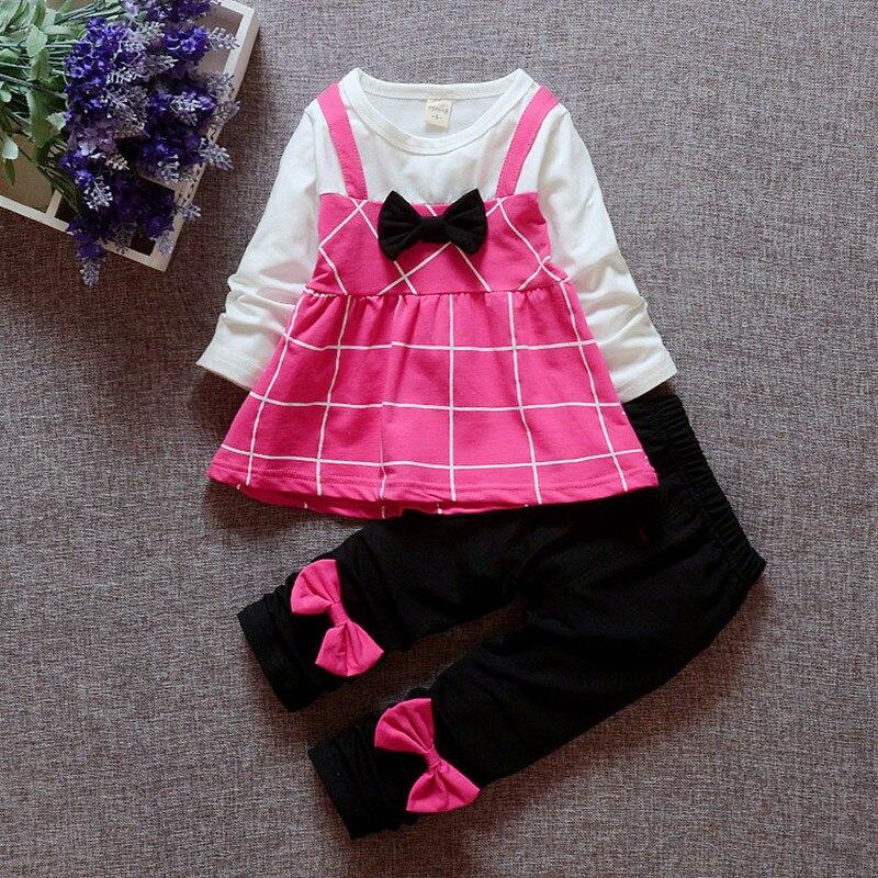 Shop3091053 Store 2017 New style girls long sleeve plaid bow cotton dress +bow pants 2pcs set top quality autumn  kids casual clothes 17A801