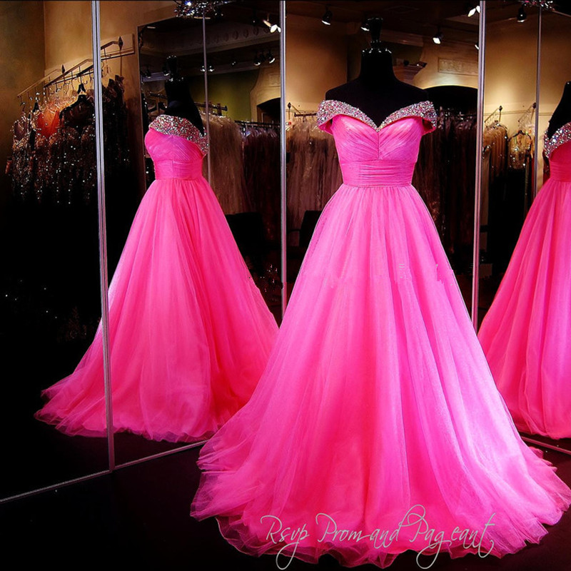 2016 Off The Shoulder Sleeveless Pink Tulle Prom Dress With Beading High Quality Prom Dress Vestidos