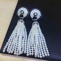 Модный натуральный пресноводный жемчуг кистями серьги 925 серебро с фианит Женская мода ювелирные изделия Бесплатная доставка