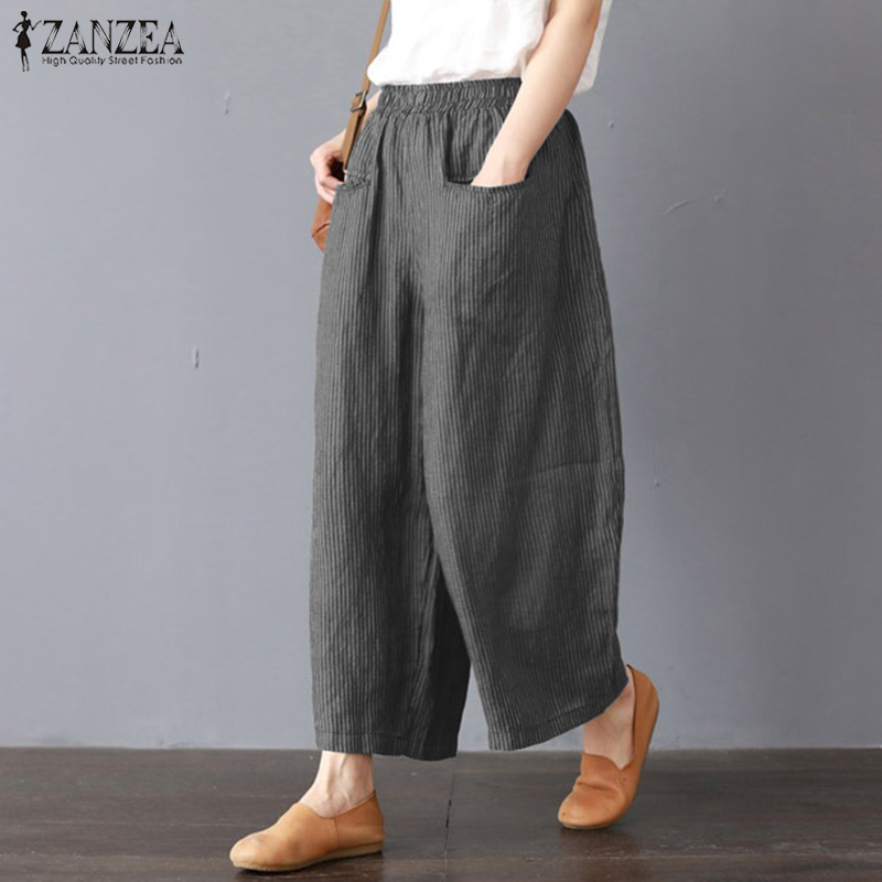 2019 ZANZEA Women   Wide     Leg     Pants   Loose Casual Elastic Waist Pantalon Fashion Striped Cotton Linen Work Long Trousers Harem   Pants