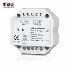 S1-B Led Triac RF Dimmer Controller use with R1 Remote 2.4GHz Wireless input 100-240V AC 1A 100W-240W Push Dimmer LED Switch
