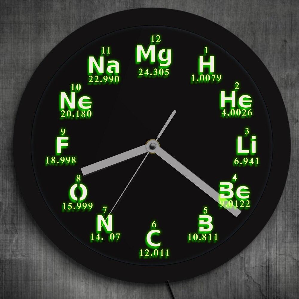 1 pièce périodique élément de Table horloge murale Science éléments chimiques LED néon éclairage horloge murale chimie Science enseignants cadeau