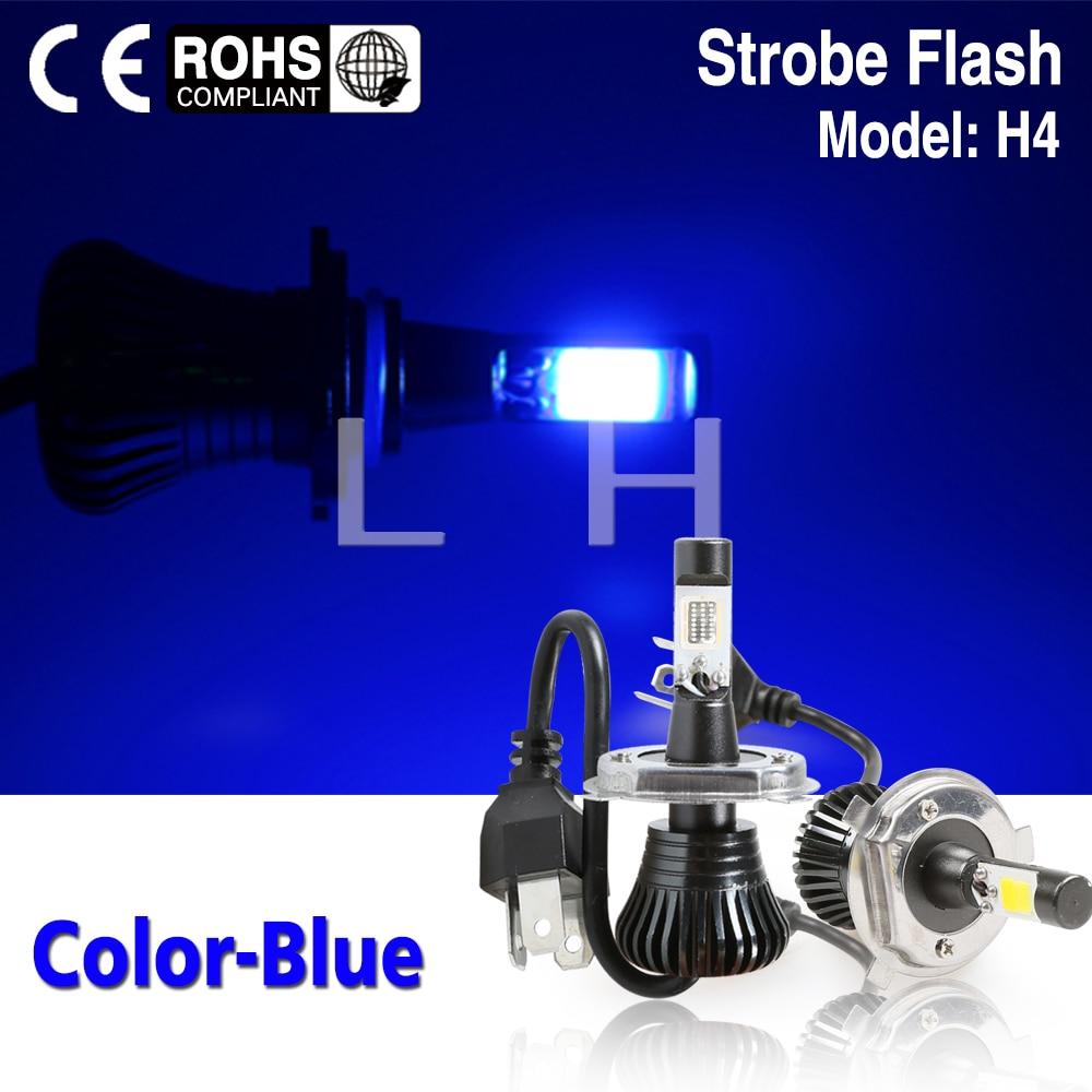 2PCS H4 LED Light Fog light Vehicle Car Hi/Lo Beam Bulb Kit Stay On And Flash Fog Light Blue