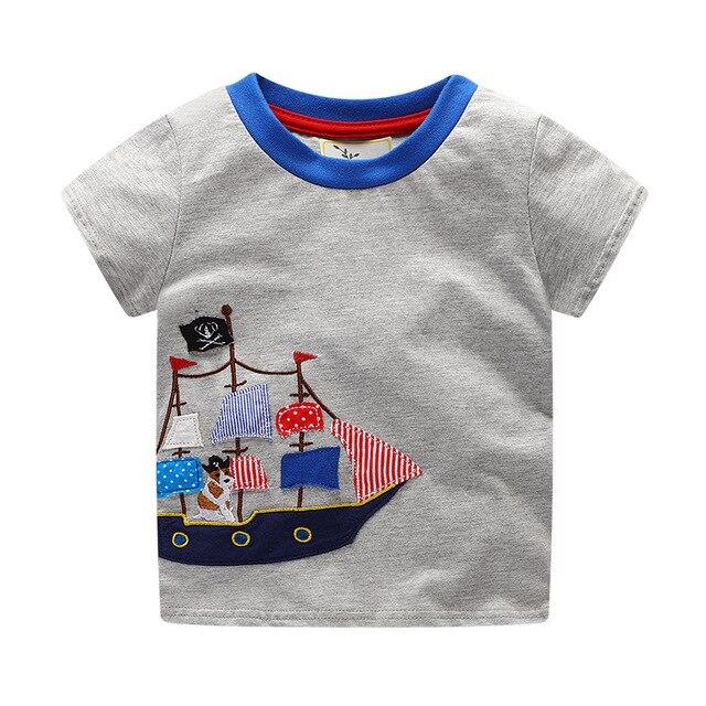 2018 Euro US trends Summer Kids T-shirts Sailboat pattern Cotton short  Sleeve T Shirt