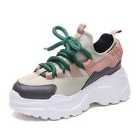Women Casual Shoes Women Mixed Color Sneakers 2018 Autumn Mesh Dad Sneakers Women Shoes Flats Platform Lace Up Fashion