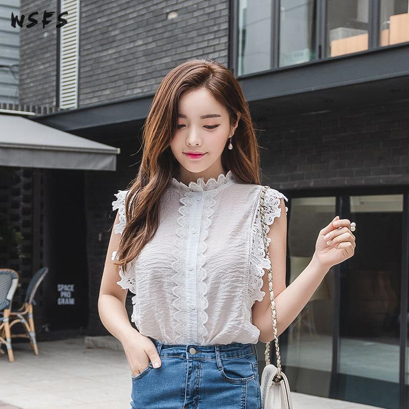 Été dentelle femmes chemise blanche sans manches lâche arc haut manches longues Blouses 2019 volants Vintage élégant bureau dames Blouse chemises - 4