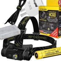 Head Lamp NITECORE HC60 CREE XM L2 U2 Max 1000LM Beam Distance 117 Meters Rechargeable Headlight