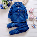 Boys Cowboy Suit Children Clothing Fashion 2017 Long Sleeve Solid Color Shirt + Jeans Pants 2PCS 1- 2 -3 -4 Years Kids Wear