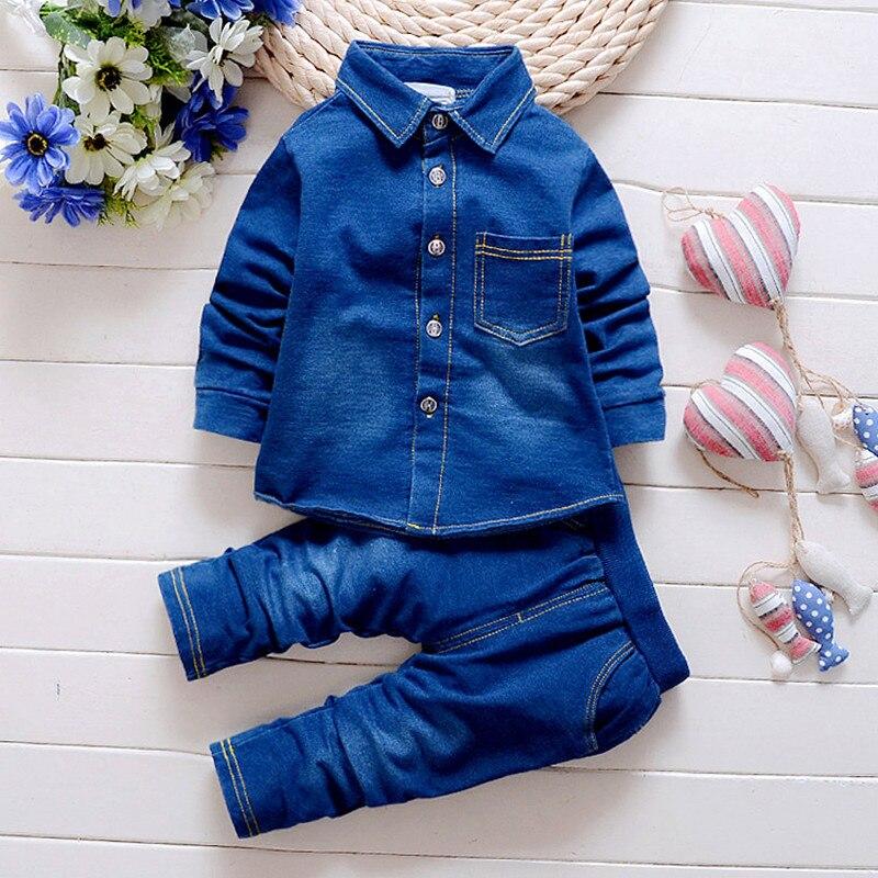 Boys Cowboy Suit Children Clothing Fashion 2018 Long Sleeve Solid Color Shirt + Jeans Pants 2PCS 1- 2 -3 -4 Years Kids Wear