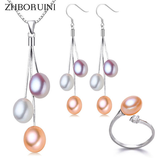 ZHBORUIN 2017 Fashion Pearl Jewelry Set Multicolour Freshwater Pearl Necklace Earrings 925 Sterling Silver Jewelry Set For Women