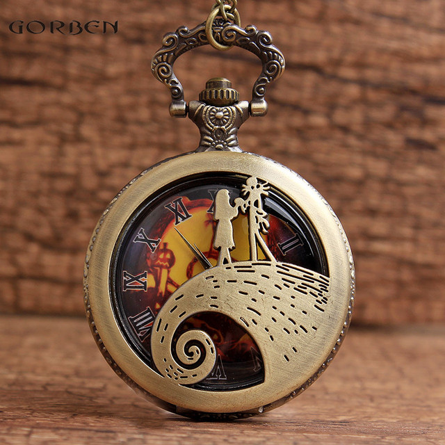 Jack & Sally The Nightmare Before Christmas Pocket Watches Fob Necklace Chain Ho