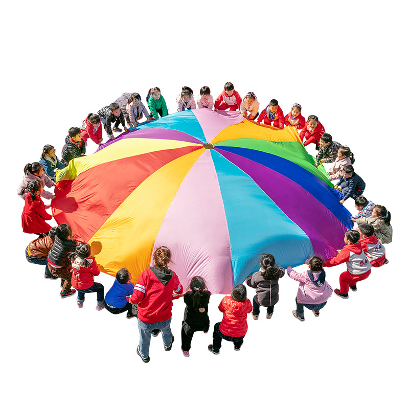 [Funny] Sports Game 2M/3M/4M/5M/6M Diameter Outdoor Rainbow Umbrella Parachute Toy Jump-Sack Ballute Play Game Mat Toy Kids Gift