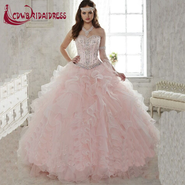 e52f9bd360e3 real photo Quinceanera Gown 2016 Hot Light Pink Quinceanera Dress Ball Gown  Sweetheart Detachable Ruffled Train