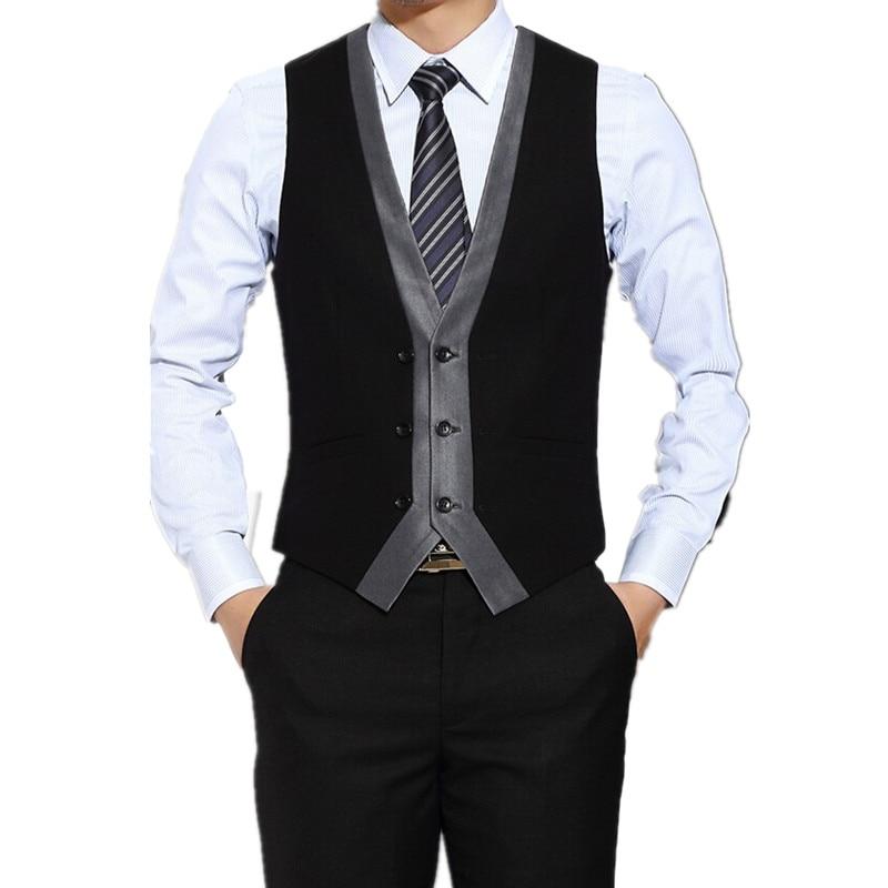 New Designs Black+Grey Men Vest Single Breasted Waistcoat Shawl Lapel Custom Made Groom Prom Dinner Vests Terno Colete