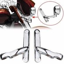 """Piezas de motocicleta, Kit de iluminación Led auxiliar, 4,5 """", 4, 1/2"""", soporte de Metal cromado negro para Harley Electra Glide, piezas de marco cromado"""
