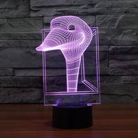 7 Color Changing Glowing Ostrich Head Acrylic 3D LED Night Light USB 3D LED Table Lamps