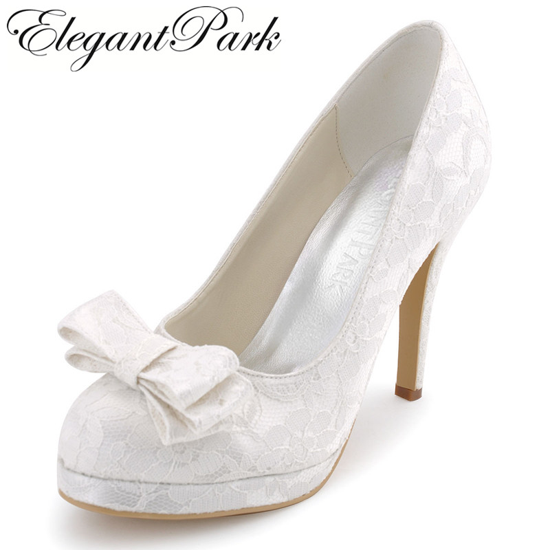 Women Closed Toe White Ivory High Heel Platform Lace Shoes Bride Bridesmaid Wedding Evening Dress Bridal Pumps EP31020-PF new arrival white wedding shoes pearl lace bridal bridesmaid shoes high heels shoes dance shoes women pumps free shipping party
