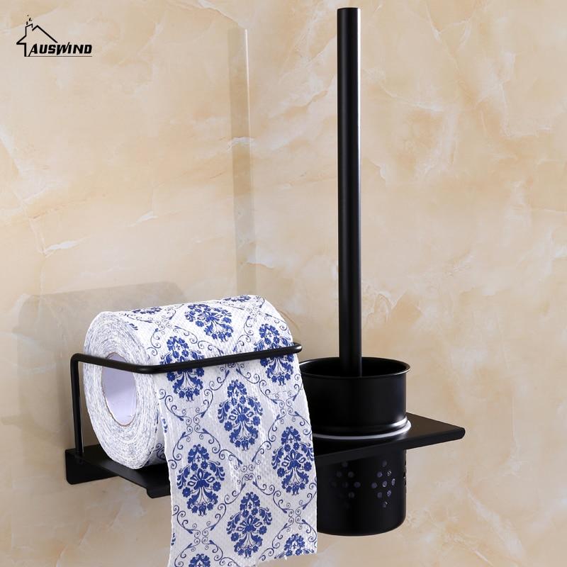 Antique Black Toilet Brush Holders Bathroom Accessories Sets Simple Modern Style Black Finish Bath Hardware Sets Durable Type