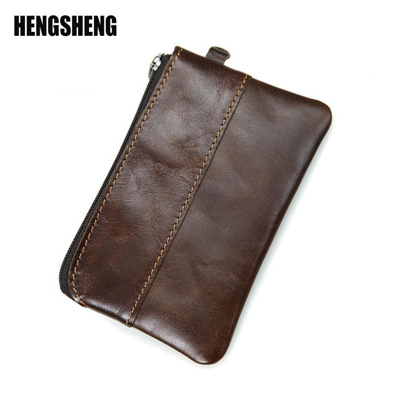 HENGSHENG Wallet Retro Men Wallets Small Purse Genuine Leather Men Wallets Coin Purse Short Paragraph Solid Color Zipper A4187 hong kong olg yat handmade carving wallet eagle mat men s brief paragraph vertical purse italian pure leather short wallets
