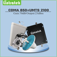 Lintratek Gain 70dB CDMA 850MHz 3G HSPA WCDMA UMTS 2100MHz Dual Band Cellphone Signal Repeater Full