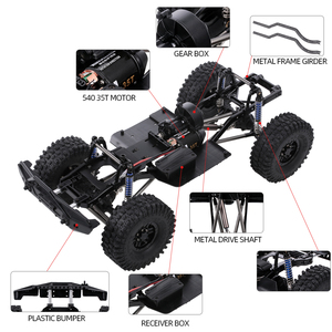 Image 5 - AUSTAR 313 مللي متر هيكل قاعدة العجلات الإطار مع 540 35T نحى المحرك ل 1/10 محوري SCX10 II 90046 90047 RC الزاحف تسلق سيارة DIY بها بنفسك