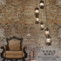 Schody światła retro obrotowe schody wisiorek retro retro lampa naftowa lampa schodowa bar Cafe Vintage koń wisiorek lampa światła FG39 w Wiszące lampki od Lampy i oświetlenie na