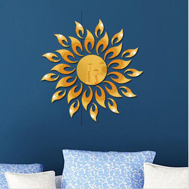 3D Mirror Sun Flower Art Removable Wall Sticker Acrylic Mural Decal Home Room Decor Hot 4