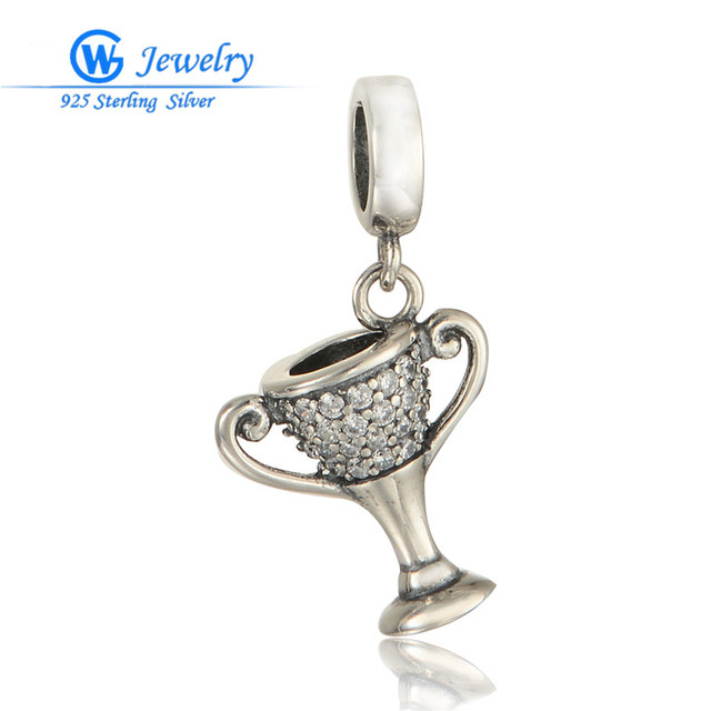 Fit Original Bracelet 100% 925 Sterling Silver Bead Charm With Cubic Zirconia White Crystal Beads GW Fine Jewelry S312H20