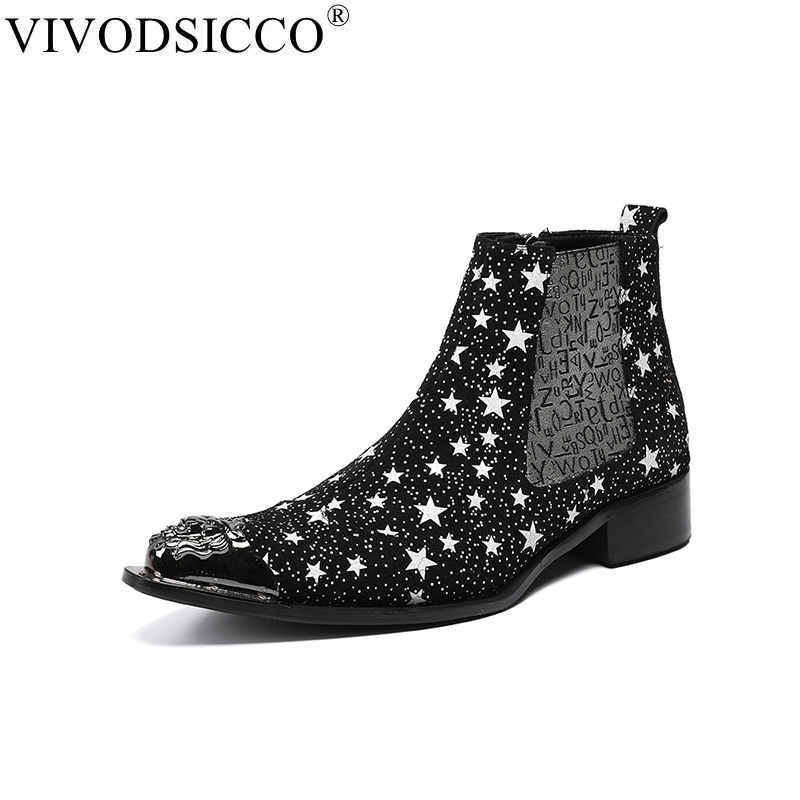 VIVODSICCO Fashion Star Printing Men Chelsea Boots Winter Suede Leather Men Ankle Boots Pointed Toe Dress Shoes Motorcycle Rock