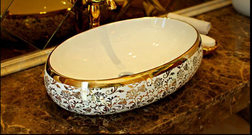 Porcelana Oval Lavatório Lavabo Lavabo Contador top Pia Do Banheiro Navio Pia de Lavagem de Arte Pintura Da Mão JY888
