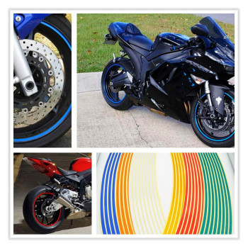 Strips Motorcycle Wheel Sticker Reflective Decals Rim Tape Bike Car Styling For BMW R1200ST S1000R Ducati 1098 S TRicoloR image