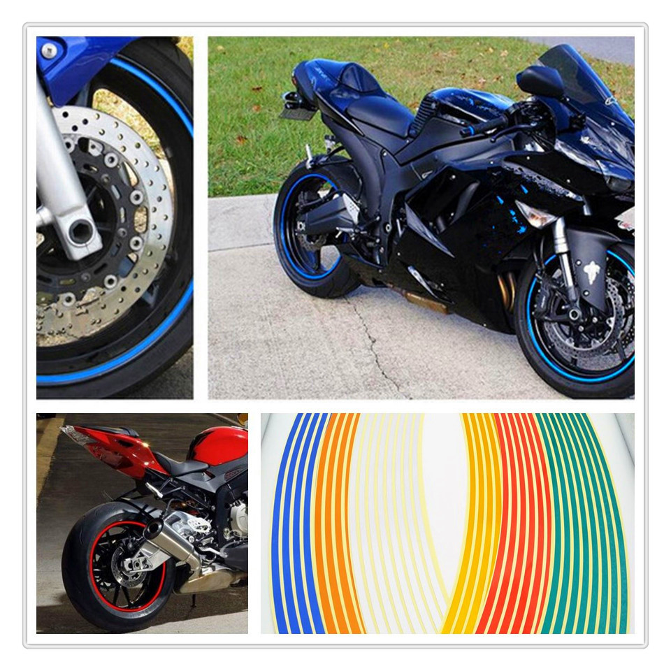 Strips Motorcycle Wheel Sticker Reflective Decals Rim Tape Bike Car Styling For <font><b>BMW</b></font> <font><b>R1200ST</b></font> S1000R Ducati 1098 S TRicoloR image