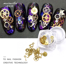 Meicailin Nail Art Decorations 1 Box New 3D Ultra-thin Punk Style Studs Gold Steam Machine Gear DIY Nails Rhinestones