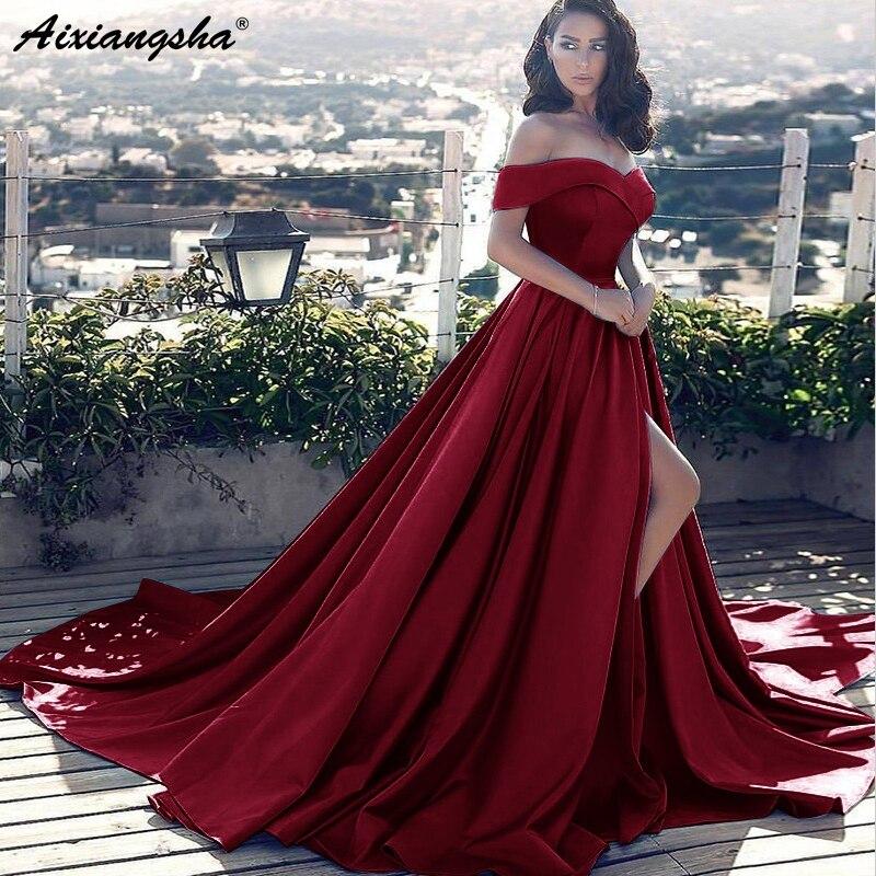 Хит продаж, элегантное бальное платье с открытыми плечами, женское вечернее платье, синее атласное платье для выпускного вечера, раздельное