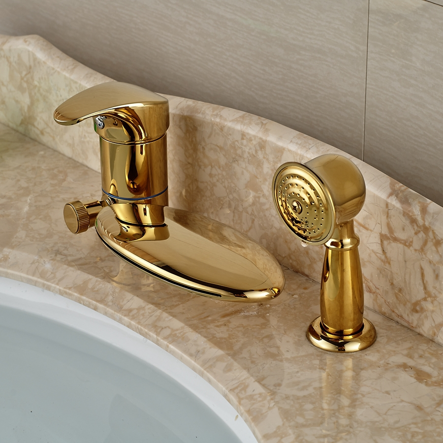 Wholesale And Retail Promotion Deck Mounted Waterfall Golden Faucet Bathroom Tub Faucet Diverter 3 PCS Mixer