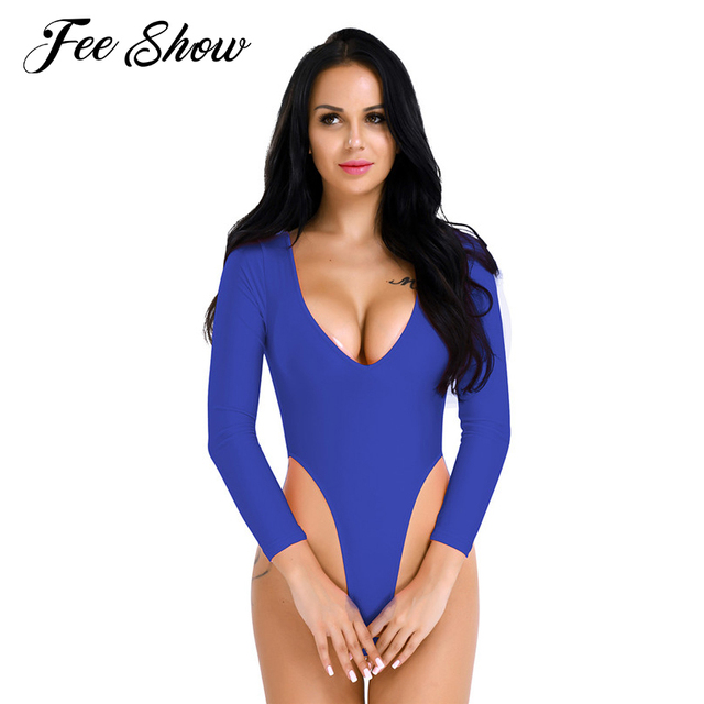 Fashion Women Lingerie Long Sleeve High Cut Body Suit Deep V Neck Open Butt Crotchless Thong Leotard Jumpsuit For Lingerie Night