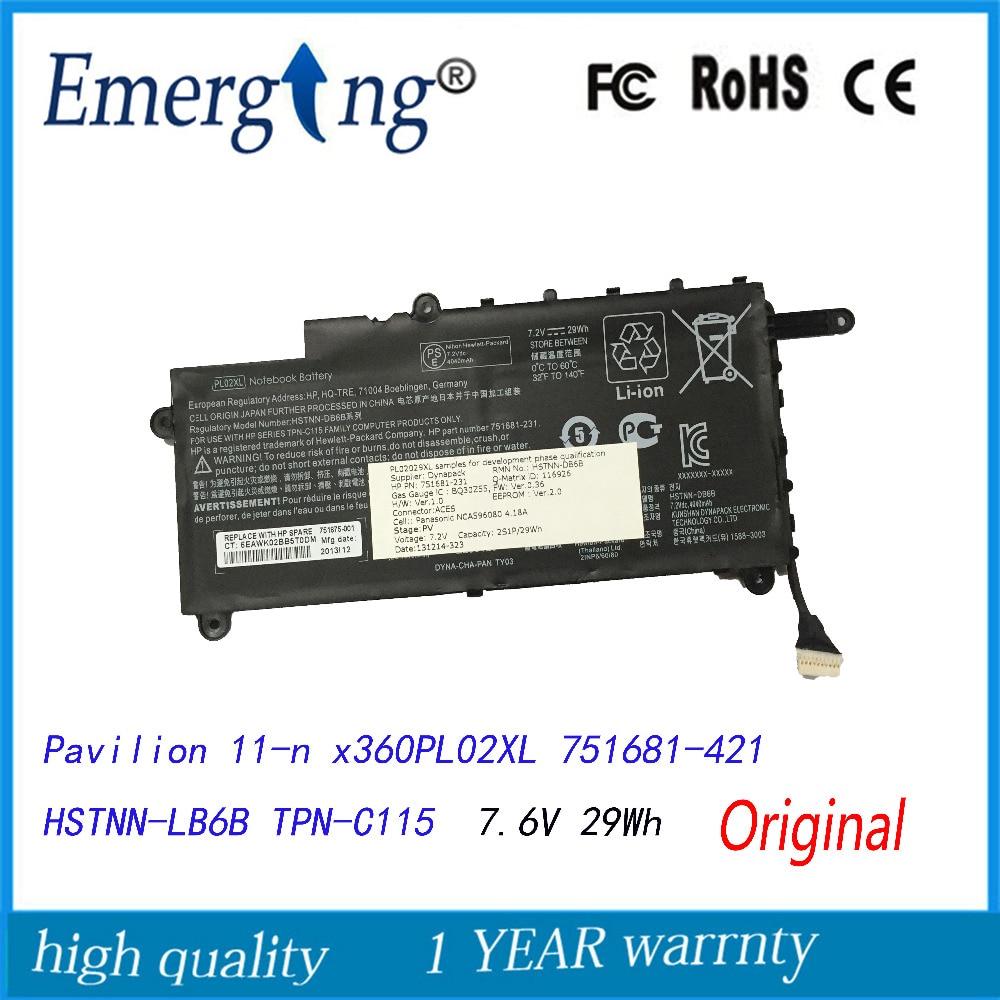7.6V 29WH New Original Laptop Battery for HP Pavilion 11-n x360 PL02XL 751681-421 HSTNN-LB6B TPN-C115 все цены