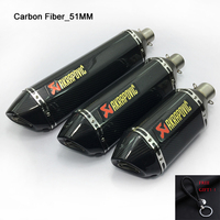 Real Carbon Fiber Inlet 51mm Universal Modified Motorcycle ATV Muffler Pipe For Akrapovic Sticker Exhaust Escape