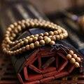 Горячее предложение! Распродажа! Модный винтажный браслет Wenge из натурального дерева 6 мм, растягивающийся деревянный браслет, мужские браслеты будды ручной работы 108 - фото