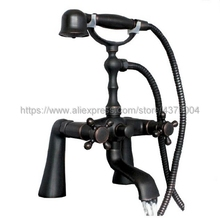 цена на Black Oil Rubbed Brass Dual Handle Bathroom Tub Faucet Deck Mounted Bathtub Mixer Taps with Handshower Ntf001