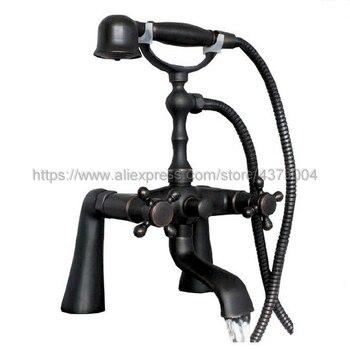 цена на Black Oil Rubbed Brass Dual Handle Bathroom Tub Faucet Deck Mounted Bathtub Mixer Taps with Handshower Ntf001