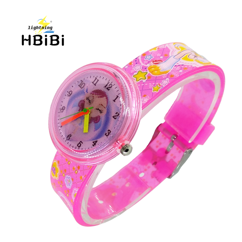 Gradient Print Princess Flowers Kids Watches Silicone Strap Dancing Girl Princess Children Watch Clock Women Quartz Wristwatch F