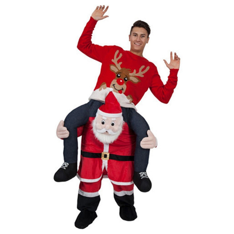 Funny Santa Claus Costume Ride on Me Animal Pants Carry Back Fancy Up Party Costume Christmas