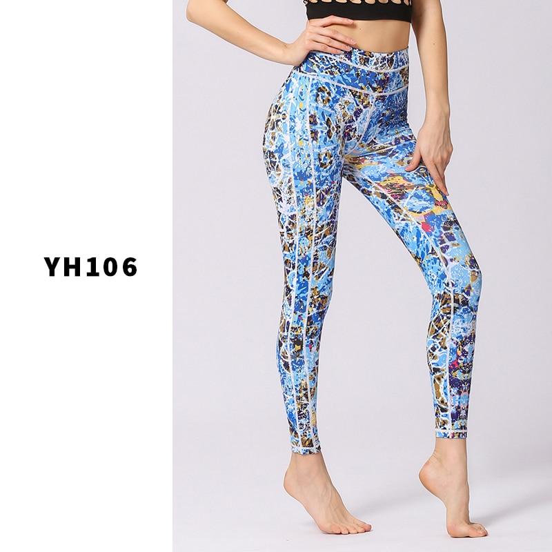 Leggings de Sport femmes pantalons de Yoga entraînement vêtements de Fitness Jogging pantalons de course collants de Gym extensible imprimé vêtements de Sport Yoga Leggins - 3