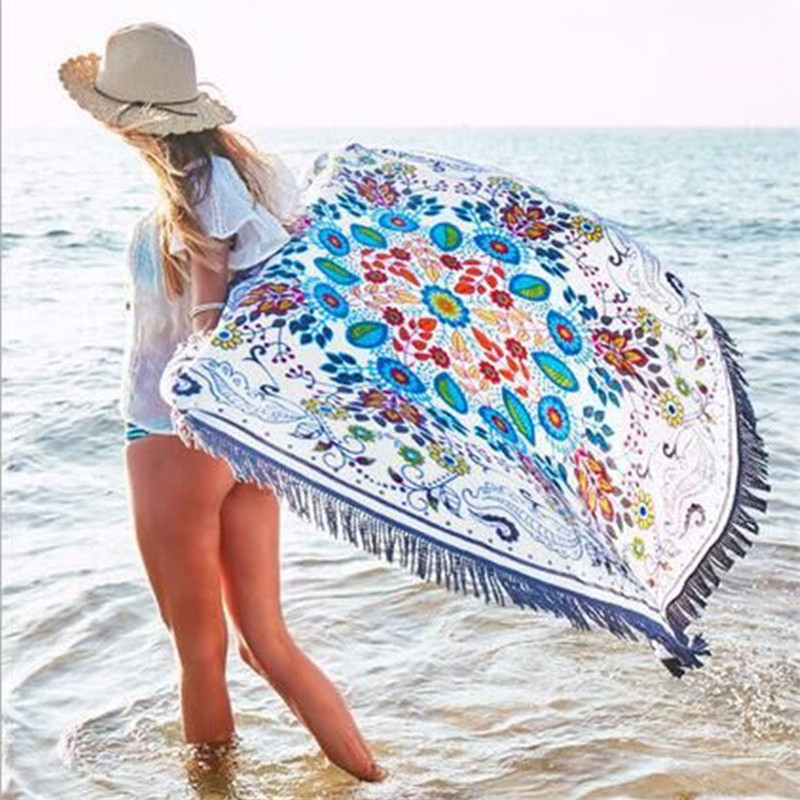 Printed Beach Cover Up 2017 Bikini Bath Towels Swimwear Women Swimsuit Cover Up Yoga Towel With Tassel Circle Tunics For Beach