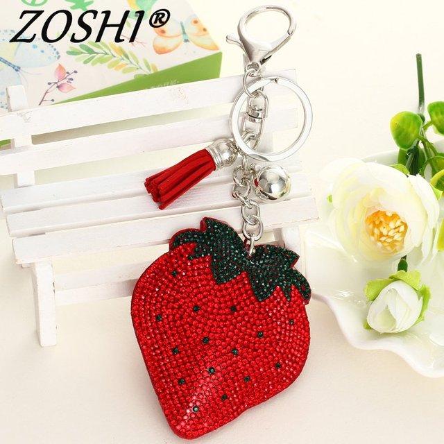 ZOSHI thời trang rhinestone trái cây Da tassle phụ nữ bạc keychain túi mặt dây chuyền chất lượng chic chìa khóa Xe giữ vòng chuỗi Đồ Trang Sức