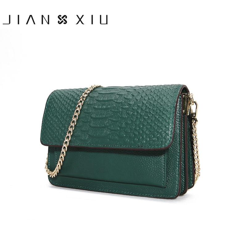 JIANXIU Brand Genuine Leather Bag Crocodile Pattern Women Messenger Bags Fashion Cowhide Female Shoulder Crossbody Chain Bag
