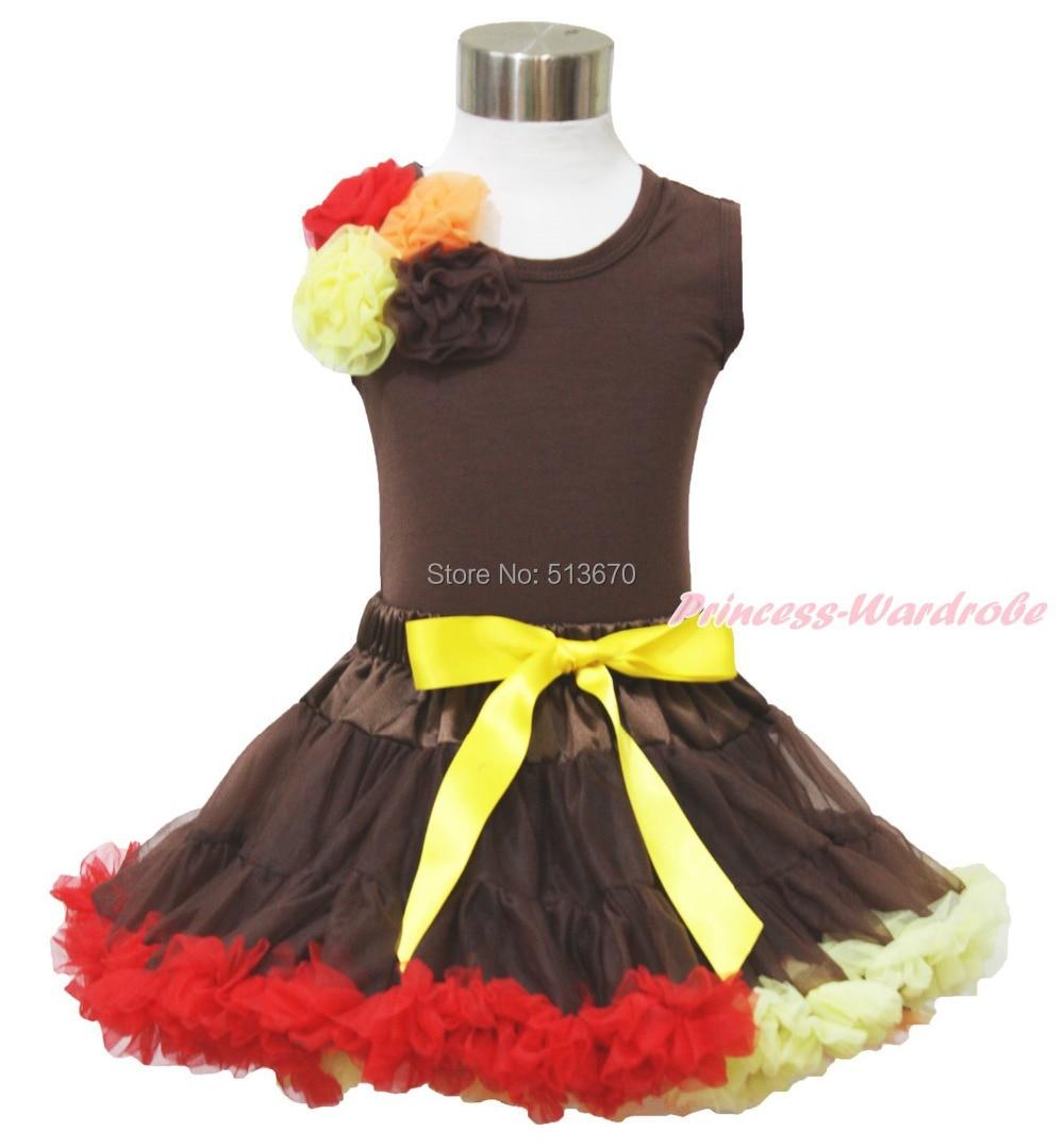 Xmas Red Orange Yellow Black Roses Brown Top Baby Girl Pettiskirt Outfit 1-8Y MAPSA0038 red brown beige orange luxury brand