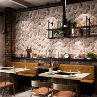 3D classical stone grain pebble pattern wallpaper natural cosy hotpot restaurant hotel distinctive culture stone pvc water proof